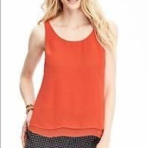 NWOT Old Navy Red Double Layered Chiffon Tank Top